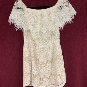 White and cream romper from Love, Fire, size L